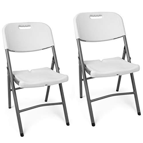Vanage Klappstuhl in weiß - Gartenstuhl im 2er Set - Klappsessel - Gartenmöbel - Stuhl für Garten, Terrasse und Balkon geeignet