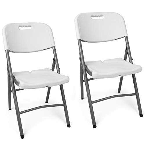 Vanage 2 x silla de jardín, plegable, blanca