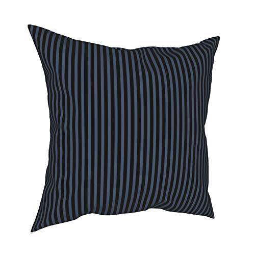 Funda de cojín decorativa para sofá, diseño de rayas, color negro y azul, con cremallera, 45,7 x 45,7 cm