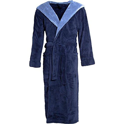 CelinaTex Texas Bademantel Kapuze L dunkel blau mittel blau Mikrofaser Damen Herren Morgenmantel Coral Fleece Mantel