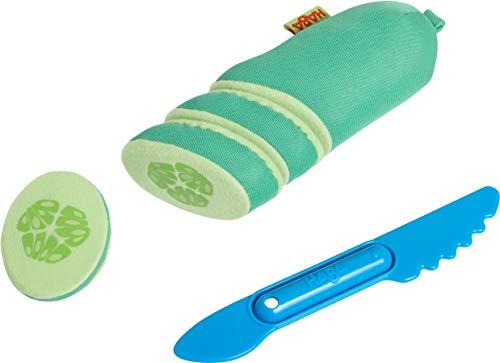 HABA 305047 - Salatgurke, Zubehör für Kaufladen und Kinderküche, 1 Salatgurke mit 3 Scheiben zum Abschneiden, Kleinkindspielzeug ab 3 Jahren