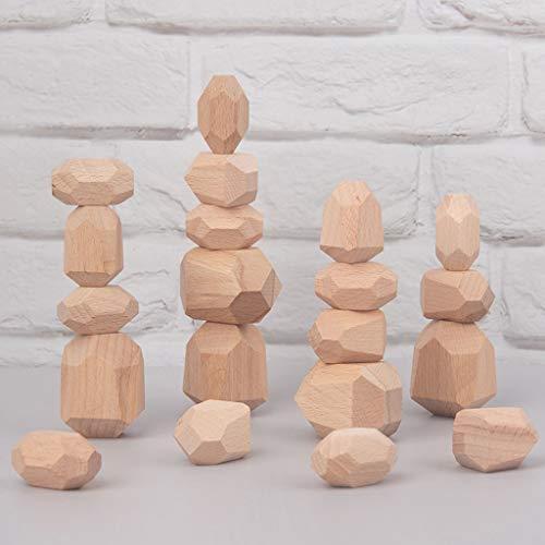 LWY Holzfarbene Buchenstämme In Naturfarben Jenga-Lernspielzeug Für Kinder Übung Zur Zusammenarbeit(Size:16 Capsules)