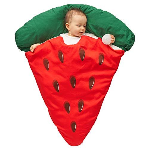 LUO'S Schlafsäcke Baby Schlafsack verdickt im Herbst und im Winter, Neugeborenen Wassermelone Pizza Anti-Kick-Steppdecke Baby-warme Decke Unisex (Color : Red)