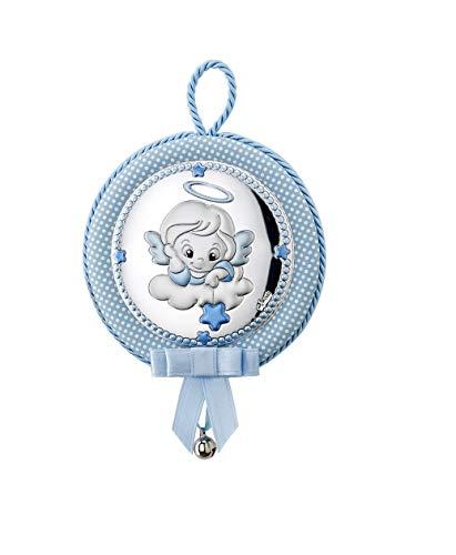 DOCOLASTRA Medalla Personalizada de Cuna ó Cochecito, musical, con cascabel y Angel de la Guarda EN PLATA BILAMINADA.
