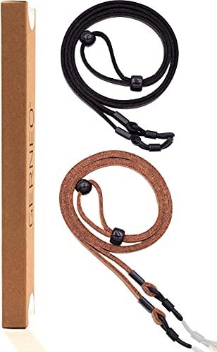 GERNEO - Madrid - Correa de gafas de cuero y aspecto de ante - Cordón de gafas de PU para gafas de sol y de lectura - Correa negra y marrón claro - Soporte negro (Multicolor)