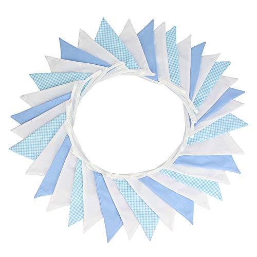 G2PLUS - Guirnalda de banderas triangulares de colores de estilo vintage, 5,5m, decoración para fiestas de cumpleaños, ceremonias, cocinas o dormitorios, azul celeste