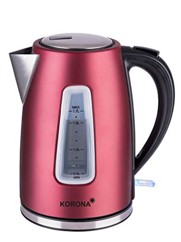 Korona 20340 Wasserkocher mit 1,7 Liter Fassungsvermögen in rot-Leistungsstarker Kocher mit Einer 360° Basisstation, 2200, 1.7 liters