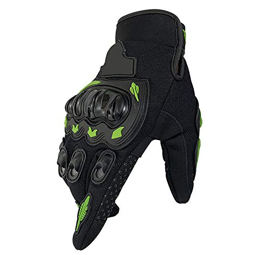 ZSXZX Touch Screen Half/Full Finger Gloves, Commuter Gloves For Motorcycle Motorbike Hunting Windproof Wear-resistant Particles Do Not Slip With Velcro(Size:M,Color:Green full finger)