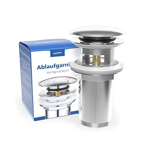 Universal Ablaufgarnitur für Waschbecken & Waschtisch - Pop Up Ablaufventil mit Überlauf aus Chrom inklusive Anleitung