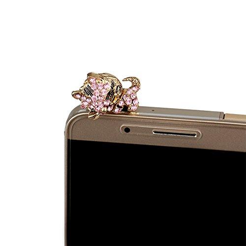 Hilai 3,5mm Phone Accessories Pink Universal Kristall Diamant schlafende Katze Staub Stecker