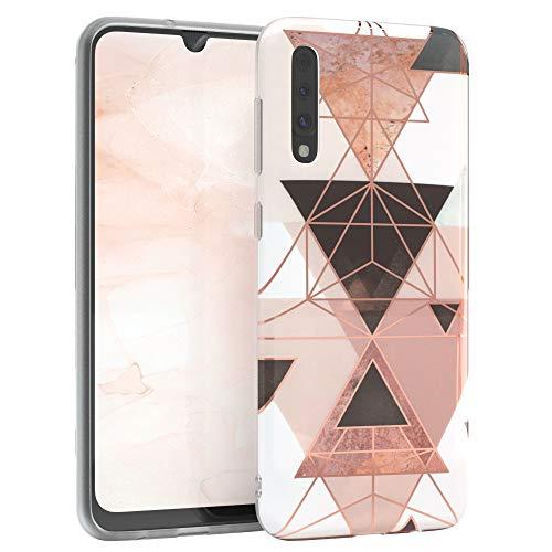 EAZY CASE Handyhülle Silikon mit Kameraschutz kompatibel mit Samsung Galaxy A30s / A50 / A50s, im Geometrie Design, Geometrie Motiv Hülle, Ultra dünn, Slimcover, Silikonhülle, Backcover, Rosa Braun