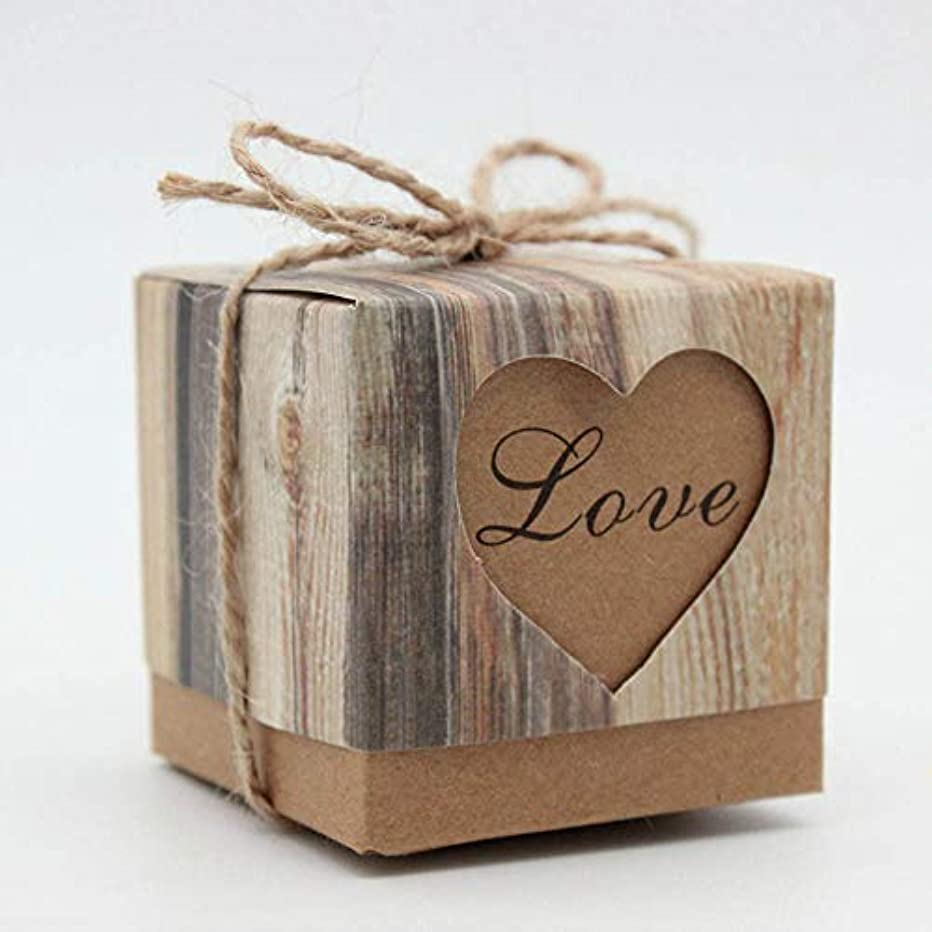 Love Rustic Candy Boxes,50Pcs Wedding Favor Boxes,Kraft Bonbonniere Paper Gift Boxes with Jute Twine for Bridal Shower Wedding Birthday Christmas Party Decorations