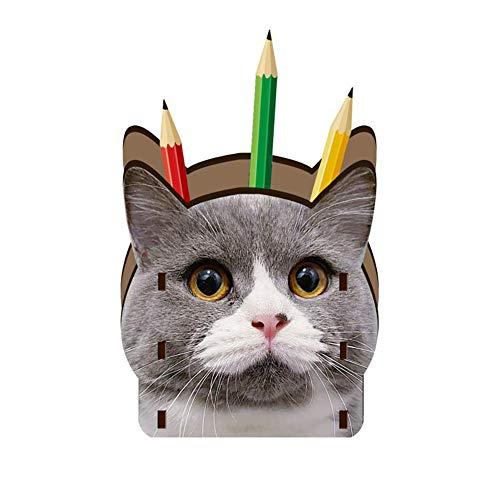 H.sheng ペンホルダー 鉛筆スタンド 文具収納ボックス DIY組み立て アクセサリー収納 オフェス用品 3D立体 ねこ柄 子供 入学祝い 事務用品 HS009-Grey cat