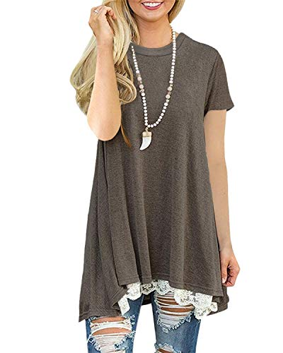 t Shirt Damen Tunika Sommer Kurzarm Bluse Longshirt Mit Spitze (Kaffee S)