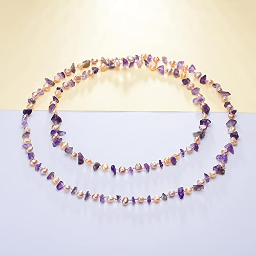 yuge Collar de perlas de agua dulce natural blanco/rosa violeta
