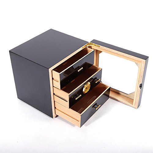 Handcrafted Cigar Humidor Cabinet, Handmade Cigar Humidor Cabinet with Digital Hygrometer for 50 to 75 Counts Cigars Cedar Lined Cigar Box with 3 Larger Drawers and 1 Humidifiers, 240x240x240mm
