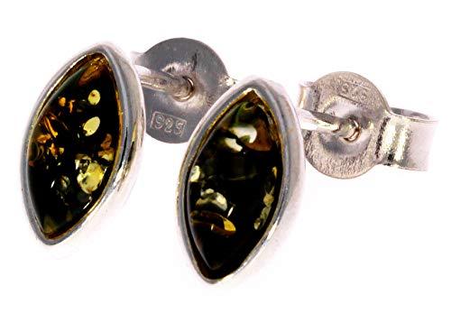 Pendientes ovalados de plata de ley con diseño de gota de ámbar verde báltico
