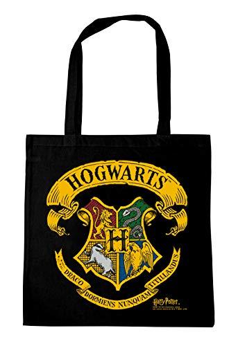 Logoshirt – Harry Potter – Hogwarts – logo – bomullsväska – tygpåse med tryck och långa handtag – svart – licensierad originaldesign