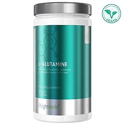 Pure L Glutamine Vegan Powder Muscle Supplement 500g - Unflavoured L Glutamine Gym Powder, Pre Workout Protein Shake & Gut Recovery. Amino Acids Repair, Plant-Based Bulk Protein Powder - WeightWorld