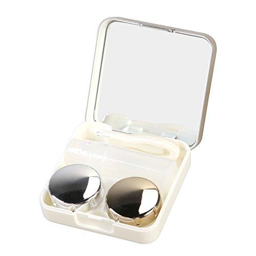 ROSENICE Kontaktlinsenbehälter modische Reise Kontaktlinsen Etui Linse Spiegel Case Behälter Set (Gold)