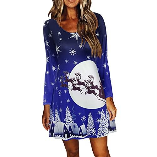 Vestidos de Fiesta Largos de Noche para Mujer Otoño e Invierno Nuevo Vestido Sexy Casual de Navidad Manga Larga Estilo Informal Falda en Trapecio Reno Impreso Moda Vintage Elegantes Ajustados