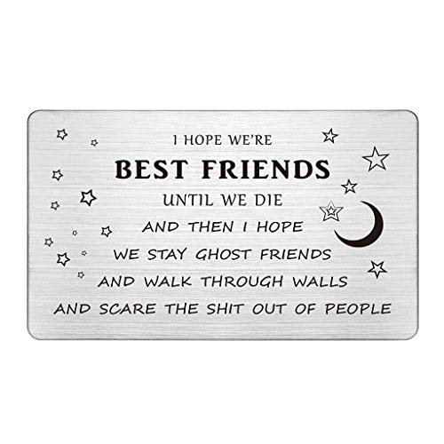 Best Friends Wallet Card Insert, Guy Friend Gifts Funny, I Hope We're Best Friends Until We Die, Best Friend Gifts for Men, Great Birthday Gift Ideas for Friend, Humor Gifts