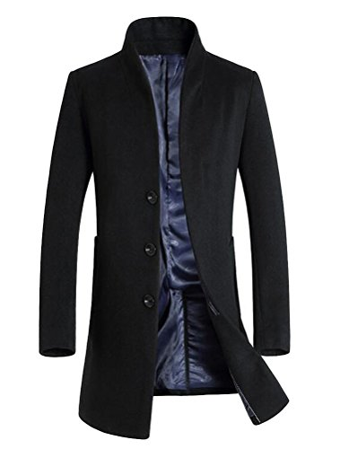 Vogstyle Herren Winter Slim Fit Wollmantel Business Überzieher Schlank Lange Windbreaker Jacken Dick Schwarz L