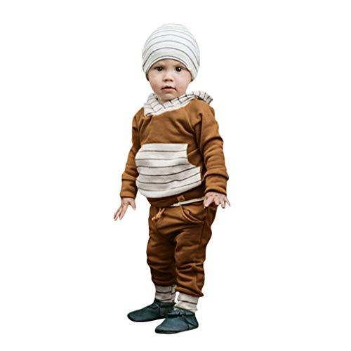 Fenverk 2Pc Neugeborenes Kinder Baby Jungs Outfits Kleider Brief T-Shirt Tops Tarnen Hose Kleinkind LangäRmlig Kapuzenpullover Sweatshirts + Hosen Outfit 0-1 Jahre(Braun,18-24 Monate)