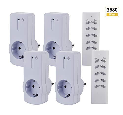 ZEYUN Funksteckdosen-Set, 3680 W, 16A, 4+2, Reichweite 30m, Weiß