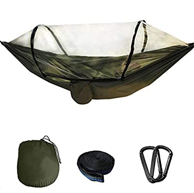 Zest Camping Hammock with Mosquito net, Lightweight Nylon Parachute, Portable Double Hammock, Suitable for Beach, Travel, Hiking, Climbing, Adventure, Outdoor Jungle (Army Green)