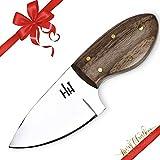 Hobby Hut HH-902 | Coltello da Collo in Acciaio al Carbonio 01 con Lama Fissa da 5 Pollici | Cintura da Caccia, Manico in micarta | Fodero in Cuoio | Progettato per scuoiare, Campeggio, Caccia
