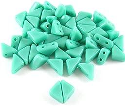 Czech Glass 2-Hole Triangle Beads-TANGO TURQUOISE 6mm (50)
