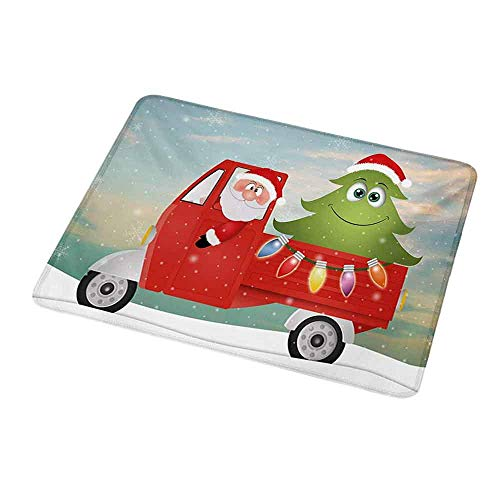 Maus Padcute Weihnachten, Santa in Red Vintage Truck mit Fun Cartoon Weihnachtsbaum und bunten Fairy Art Print, Multifor Kids