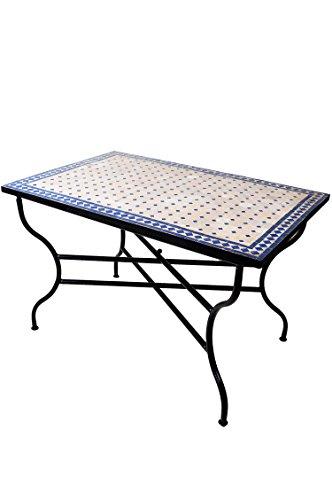 ORIGINAL Marokkanischer Mosaiktisch Gartentisch 120x80cm Groß eckig klappbar | Eckiger klappbarer Mosaik Esstisch Mediterran | als Klapptisch für Balkon oder Garten | Marrakesch Natur Blau 120x80cm