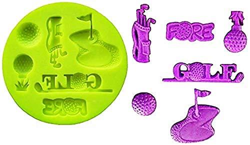 KIRALOVE Silikonform in taschenform mit golfschlägern - golfplatz - golfbälle mit geringer Dicke - heimwerken - basteln - hobbys - abgüsse - Schablone für bastelzwecke
