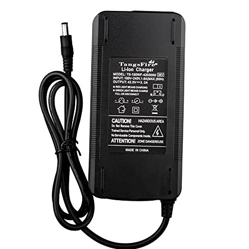 TangsFire - Cargador de batería para bicicleta eléctrica de 36 V (42 V, 3 A, 5,5 x 2,1 mm)