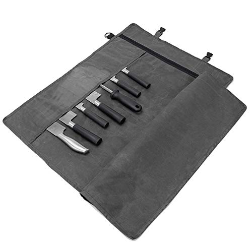 Chef's Knife Roll, Roll Up Knife Bag, Multifunctional 11 Pockets Knife Carrying Case,Travel Knife Carrier Holder,Large Capacity/Durable Waxed Canvas/Ultralight Cultery Knife Protectors (Grey)