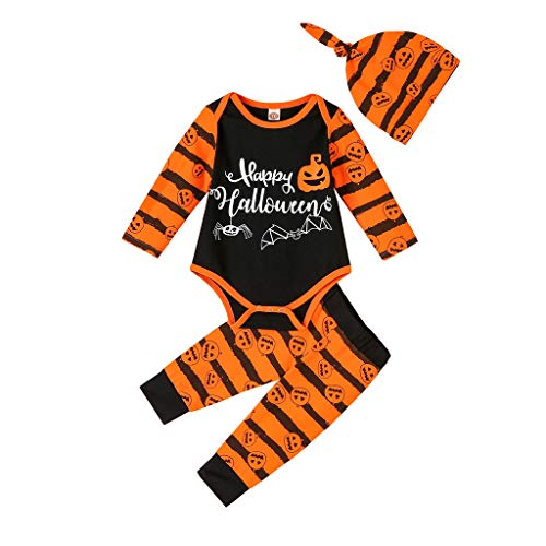 Infantil Disfraz Halloween Fossen Recien Nacido Niña Niño Bebe Monos de Calabaza Tops con Sombrero de Raya + Sombrero (6-12 Meses, Naranja)