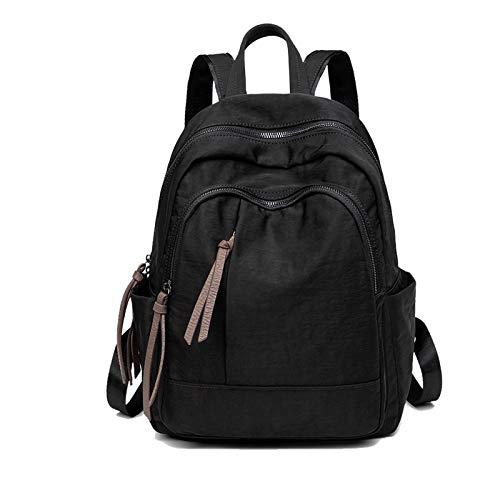 FANDARE Mujer Mochila Casual Bolso Escolar Niñas Livianas Impermeable Backpack Nylon Daypack para Viajes Compras Colegio Conmutar Negro