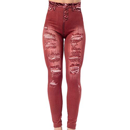 Fashion Damen Jeggings, Leggings, Stretch Slim Fit, Hipster ertical Streifen Nachahmung Denim Leggings Yogahosen Vertikal Streifen Imitation Denim Leggings Show Thin Buttock Raising Capris XL