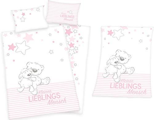 rainbowFUN.de Herding Kleiner Lieblingsmensch Baby-Bettwäsche Flanell 100x135 und Mikrofaser-Flauschdecke Mädchen rosa