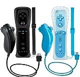 ZeroStory 2 paquetes de controlador inalámbrico y Nunchuck para consola Wii y Wii U, Gamepad con funda de silicona y correa de muñeca (negro y azul)