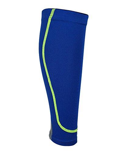 Qitun Circulación para Corredores Terneros, Apoyo las medias Para Correr Baloncesto - Calentadores de Pantorrilla de Compresion (Envoltura única) Azul M