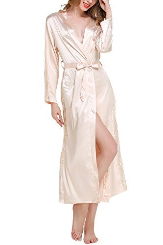 Dolamen Donna Kimono Vestaglia Pigiama Sleepwear Lungo, Lussuoso Pizzo Raso Vestaglie e Kimono Robe Accappatoio Damigella d'Onore da Notte Pigiama, Busto 108cm, 45.52 Pollici (Oro)