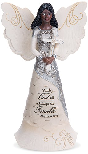 """Pavilion Gift Company 82382 with God All Things are Possible Ebony Angel Figurine, 6-1/2"""""""