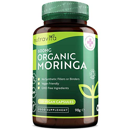 Organic Moringa Capsules 600mg - Moringa Oleifera Leaf Supplement - 120 Vegan Capsules - 4 Month Supply - No Synthetic Binders or Fillers - Made in The UK by Nutravita