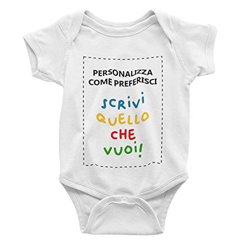 CHEMAGLIETTE! Body Bimbo Bimba Personalizzabile Body Neonato Personalizzato con Scritta Idea regalo nascita (0-6 Mesi)