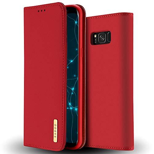 RADOO Galaxy S8 Hülle, Premium Echtes Leder Klapphülle Slim Lederhülle mit Standfunktion und Kartenfach TPU Innenraum Hülle Schlanke Ledertasche Handyhülle für Samsung Galaxy S8 (Rot)
