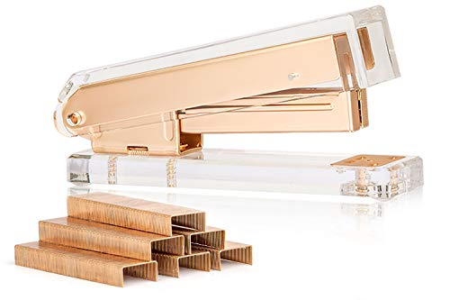 SIRMEDAL Elegant Ultra Clear Acrylic Office Supplies Acrylic Stapler Matte Gold Desktop Stapler with 1000pcs Staples for Office AccessoriesGold