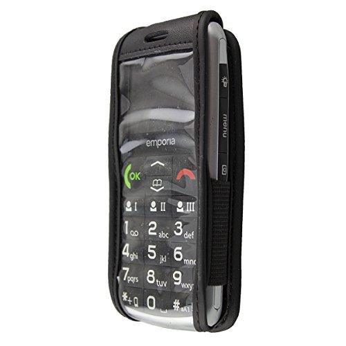 caseroxx Hülle Ledertasche mit Gürtelclip für Emporia Classic aus Echtleder, Tasche mit Gürtelclip & Sichtfenster in schwarz